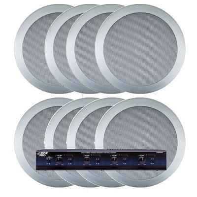 Pyle KTHSP85PSL 4 Room In-Ceiling Home Speaker System w/Speaker Selector & Volume Control (Silver)
