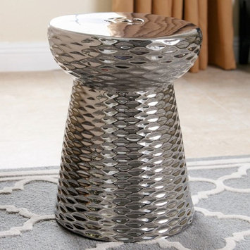 Abbyson Living Lavenda Ceramic Garden Stool in Silver Chrome