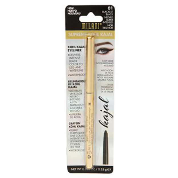 Milani Supreme Kohl Kajal Eyeliner Pencil, Blackest Black, .01 oz