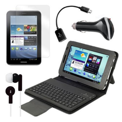 Bluetooth Keyboard Folio with Earphones, Screen Protector, OTG Cable, and More for Samsung Galaxy Tab 2 7