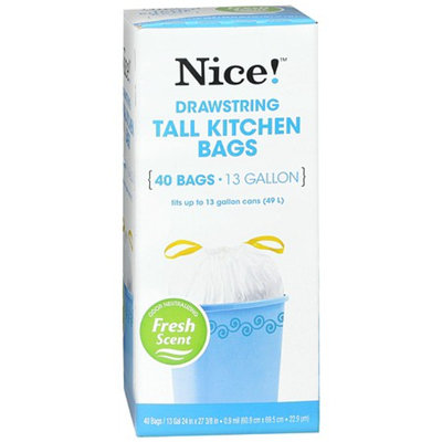Nice! Drawstring Odor Block Tall Kitchen Bags 13Gal