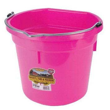 Miller Mfg Miller Manufacturing P20FBHOTPINK Plastic Flat Back Bucket for Horses, 20-Quart