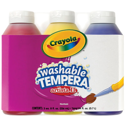 Crayola Washable Tempera Set, Primary Colors (Pk/3)