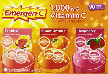 Emergenc 1,000 Mg Vitamin C Dietary Supplement Drink Mix 3 Flavors 90 Packets