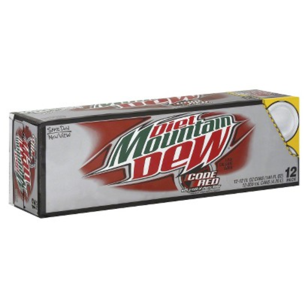 Mountain Dew Diet Code Red Soda 12 oz, 12 pk