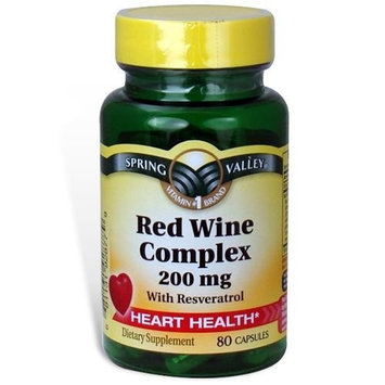 Spring Valley - Red Wine Complex 200 mg, with Resveratrol, 80 Capsules