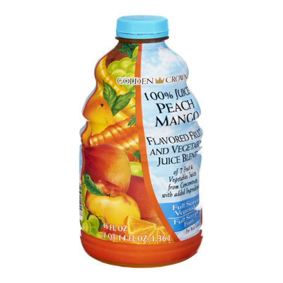 Golden Crown 100% Juice Peach Mango Flavored Fruit and Vegetable Juice Blend