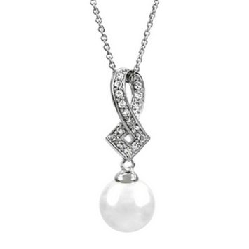 Emitations Kinzey's Unique Pearl And CZ Dangle Necklace