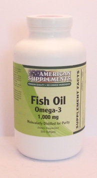 Omega-3 1000 MG No Chinese Ingredients American Supplements 300 VCaps