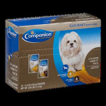 Companion Gourmet Dog Food Variety Pack Chicken Dinner in Gravy/Turkey in Gravy - 12 CT