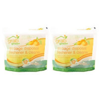 Grab Green Garbage Disposal Freshener and Cleaner, Tangerine with Lemongrass, 12 Pods (Pack of 2)