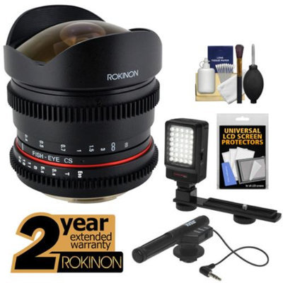 Rokinon 8mm T/3.8 Cine Fisheye Lens with 2 Year Ext. Warranty + LED Video Light + Microphone Kit for Nikon D3200, D3300, D5200, D5300, D7100, D610, D800, D4s Cameras