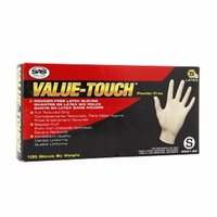 SAS Safety Corp. Value-Touch Disposable Powder Free Latex Gloves, Small, 100 ea