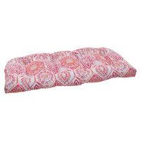 Pillow Perfect Outdoor Wicker Loveseat Cushion - Pink/Orange Medallion