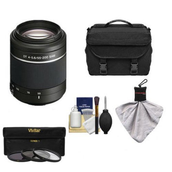 Sony Alpha DT 55-200mm f/4-5.6 SAM Zoom Lens with Case + 3 UV/ND8/CPL Filter Set + Cleaning Kit for A57, A58, A65, A77 DSLR Cameras
