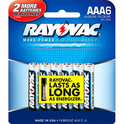 Ray-o-vac 6 Pack Aaa Alkaline Battery 824-6F