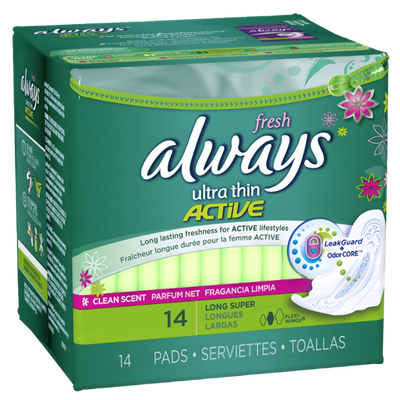 Always Ultra Thin Long/Super Pads With Wings Clean Scent 14 Count