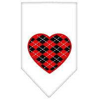 Ahi Argyle Heart Red Screen Print Bandana White Small