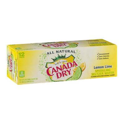 Canada Dry Sparkling Seltzer Water Lemon Lime - 12 PK
