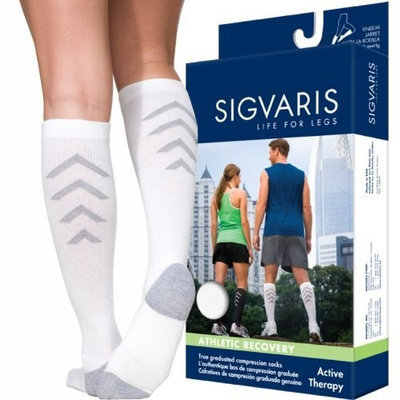 Sigvaris Men's and Women's 15-20mmHg Athletic Recovery Sock Size: Women's Size D, Color: Black 99