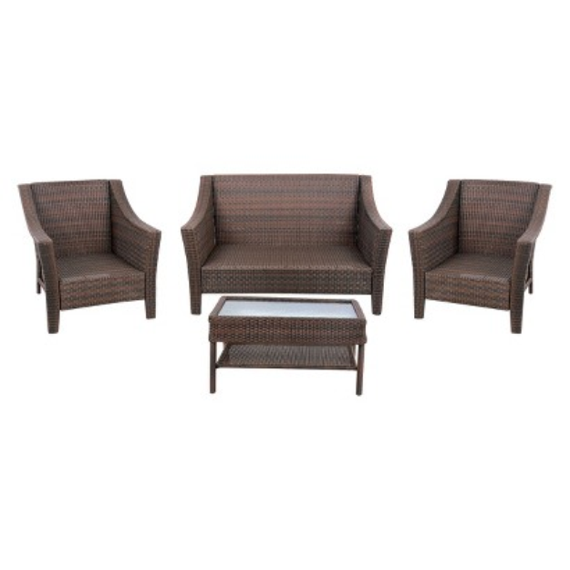 Threshold Rolston Wicker Conversation Set-4 pieces