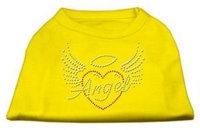 Ahi Angel Heart Rhinestone Dog Shirt Yellow XS (8)