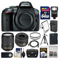 Nikon D5300 Digital SLR Camera Body (Grey) with 35mm f/1.8 & 18-140mm VR Zoom Lens + 64GB Card + Case + Flash + Battery Kit