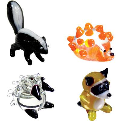 BrainStorm Looking Glass Miniature Glass Figurines, 4-Pack, Skunk/Hedgehog/Porcupine/Raccoon