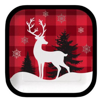 Christmas Central Club Pack of 96 Winter Lodge Reindeer Square Party Lunch Paper Plates 7