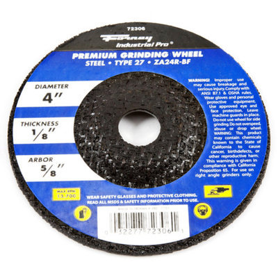 Forney 72306 Grinding Wheel Type 27 Industrial Pro Metal with 5/8-Inch Arbor ZA24R 4-Inch-by-1/8-Inc