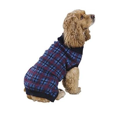 Zack & Zoey English Plaid Pet Sweater - Navy Blue