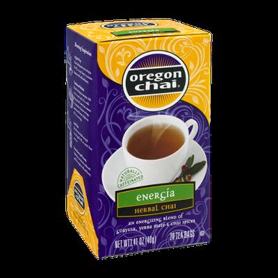 Oregon Chai Energia Herbal Chai Tea Bags - 20 CT