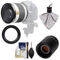 Samyang 500mm f/6.3 Mirror Lens (White) with 2x Teleconverter (=1000mm) for Canon EOS 60D, 7D, 5D Mark II III, Rebel T3, T3i, T4i Digital SLR Cameras