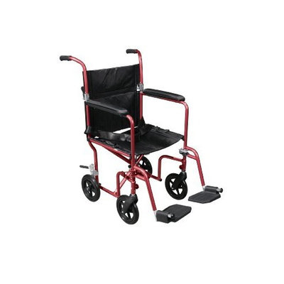 Drive Medical Transport Chair Fly Weight Deluxe Aluminum Wheelchair, 19