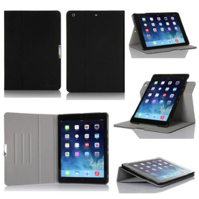 GearIt Apple iPad Air Case - 360 SPINNER Folio Rotating Smart Cover Stand for iPad Air - Twill Black