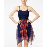 As U Wish Juniors' Crochet Printed Belted Dress