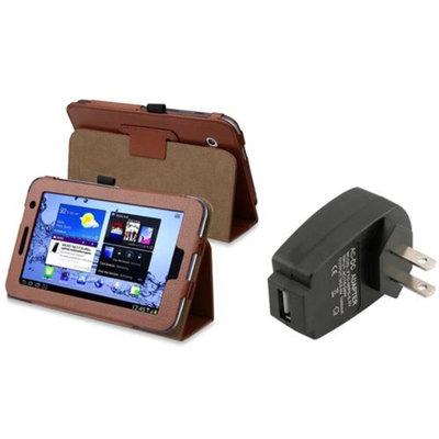 Insten INSTEN Brown Leather Case Stand For Samsung Galaxy Tab 2 7.0