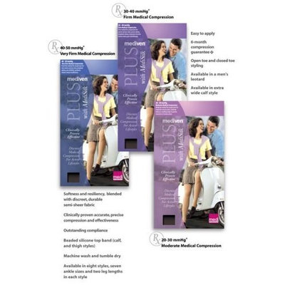Mediven Plus, Knee-High With Top Band, Petite, 20-30mmHg, Open Toe, Compression Stocking, Beige, III