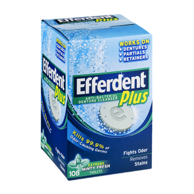 Efferdent Anti-Bacterial Denture Cleanser Plus Minty Fresh- 108 CT