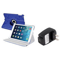 Insten INSTEN Blue Cute 360 Leather Case Cover+Travel Charger For Apple iPad Air 5 5th Gen