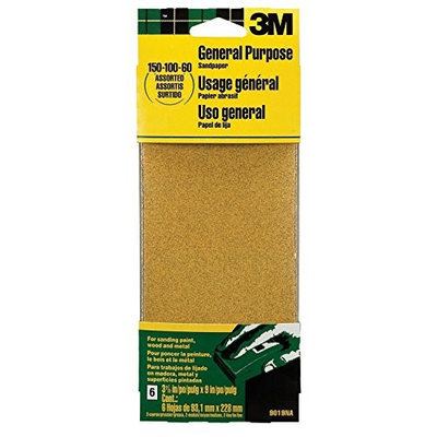 3M 9015 General Purpose Sandpaper Sheets, 3-2/3-Inch by 9-Inch, Fine Grit, 2-PACK