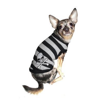 Hip Doggie Gray Stripe Skull Tank, Size: XS