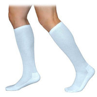Sigvaris 360 Cushioned Cotton Series 20-30 mmHg Men's Closed Toe Knee High Sock Size: Medium Long, Color: White 00