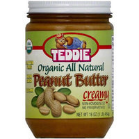 Teddie Organic All Natural Creamy Peanut Butter, 16 oz, (Pack of 12)