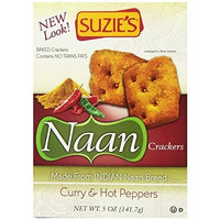 Suzies Suzie's Naan Crackers with Curry and Hot Peppers, 5-Ounce (Pack of 6)