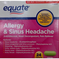 Equate Allergy and Sinus Headache 24 Caplets Compare to Benadryl