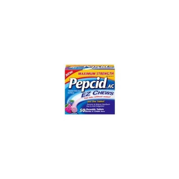 Pepcid AC Maximum Strength Acid Reducer EZ Chews Tablets, Berry n Cream Flavor - 50 Tablets