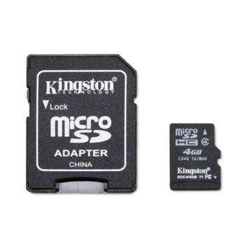 Kingston KR-C114G-2MQ 4GB microSDHC Flash Card - Class 4, Adapter, 4MB/sec Data Transfer Rate, FAT 32, (RETAIL)