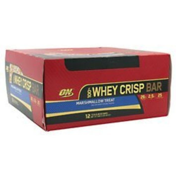 Optimum Nutrition 100% Whey Crisp Bar Marshmallow Treat -- 12 Bars, 2.29oz(65g)/bar, Total 27.46oz (780g)