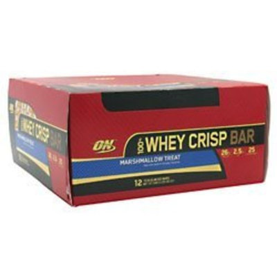 Optimum Nutrition 100% Whey Crisp Bar Marshmallow Treat -- 12 Bars, 2.29oz(65g)/bar, Total 27.46oz (780g)